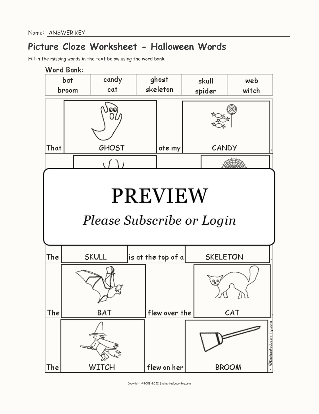 Picture Cloze Worksheet