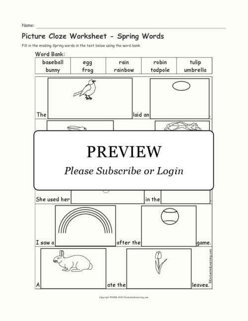 small resolution of Picture Cloze Worksheet - Spring Words - Enchanted Learning