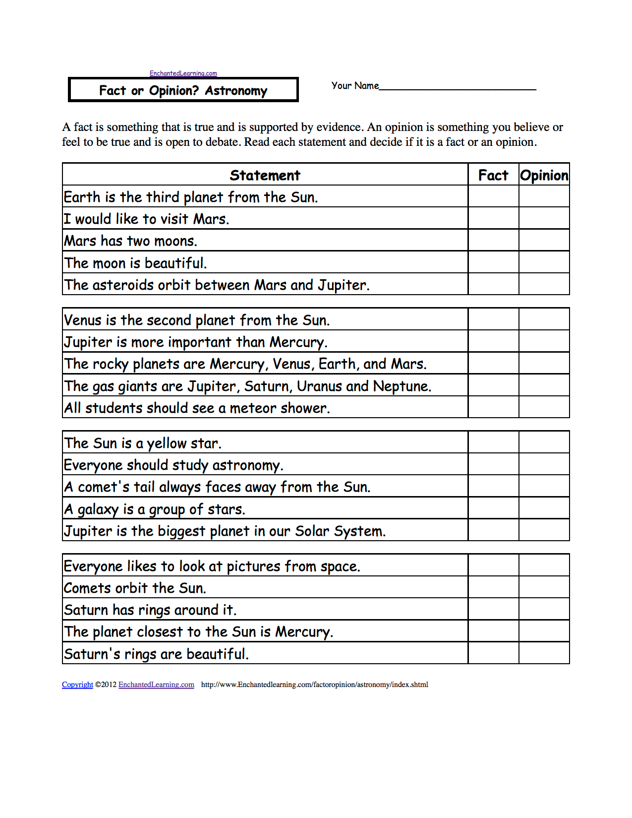 Printable Planets Worksheets