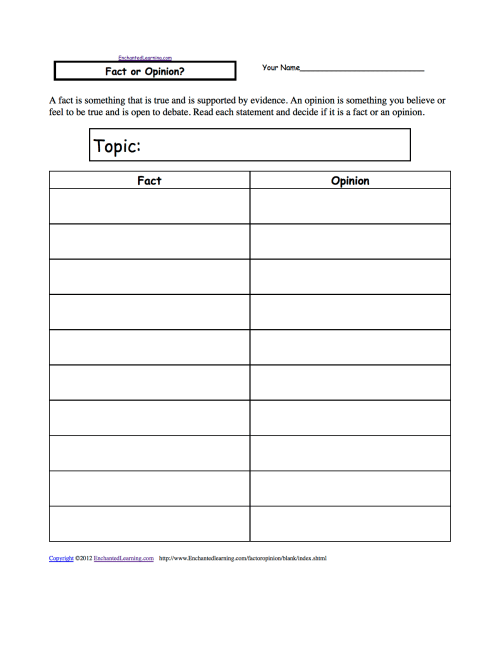 small resolution of Fact or Opinion? Worksheets to Print - EnchantedLearning.com