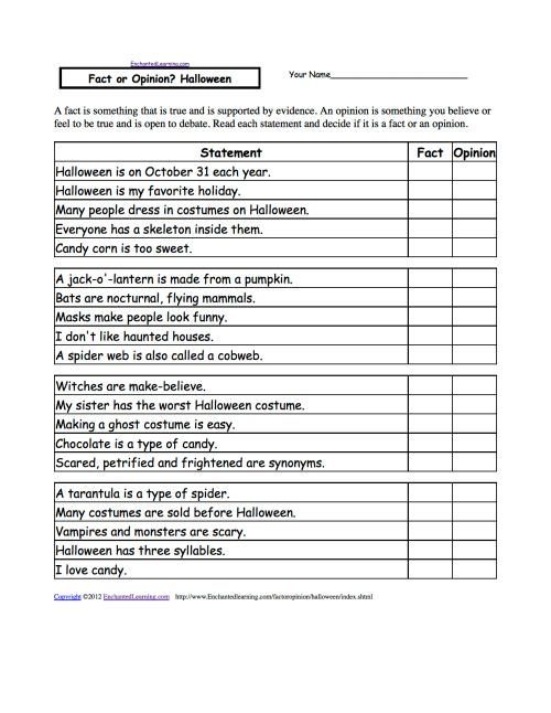 small resolution of Fact or Opinion? Checkmark Worksheets to Print - EnchantedLearning.com
