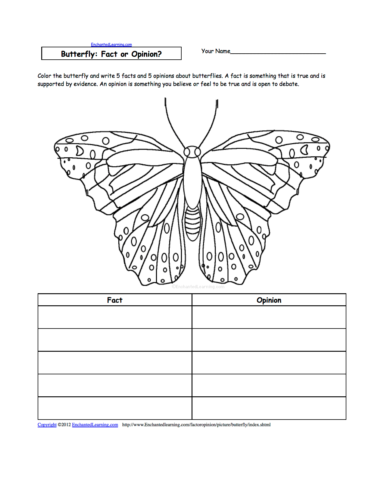 Butterfly Parts Worksheet