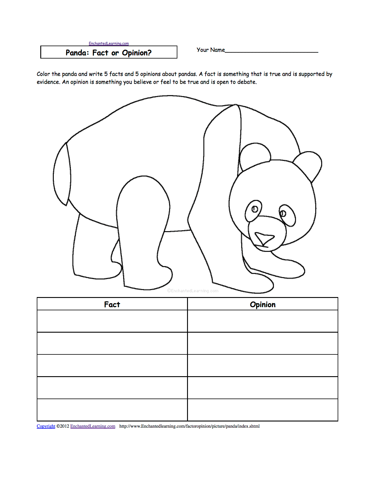 Spider Fact And Opinion Worksheet