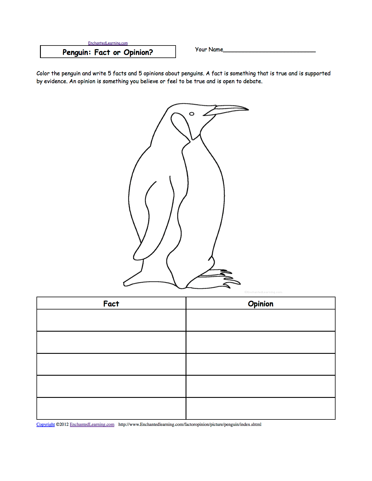 Penguin Coloring Worksheet