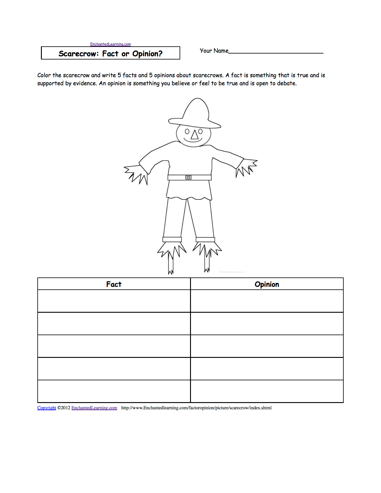 Scarecrow Activities At Enchantedlearning