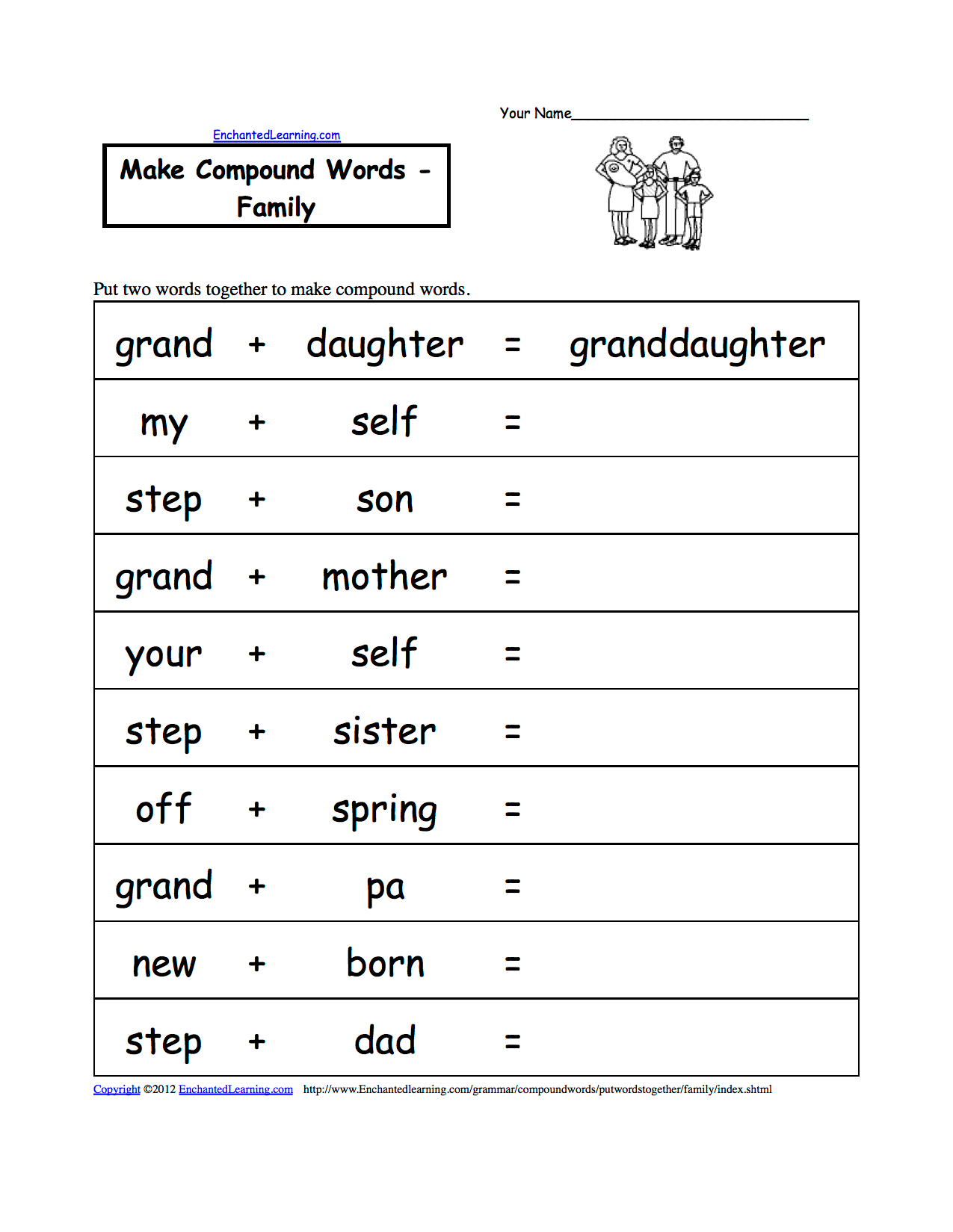 Family Theme Page Spelling Worksheets At