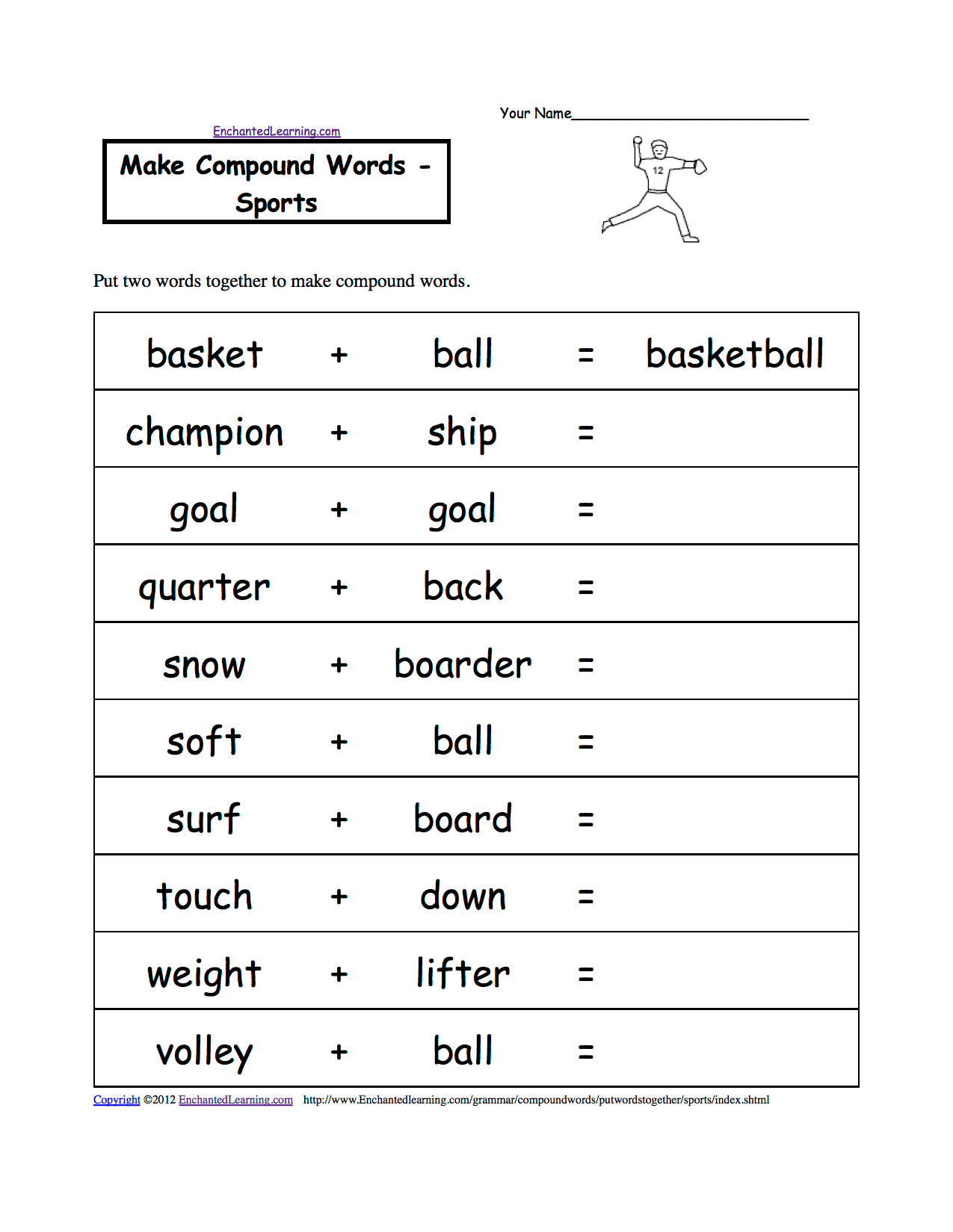 Spelling Worksheets Sports At Enchantedlearning