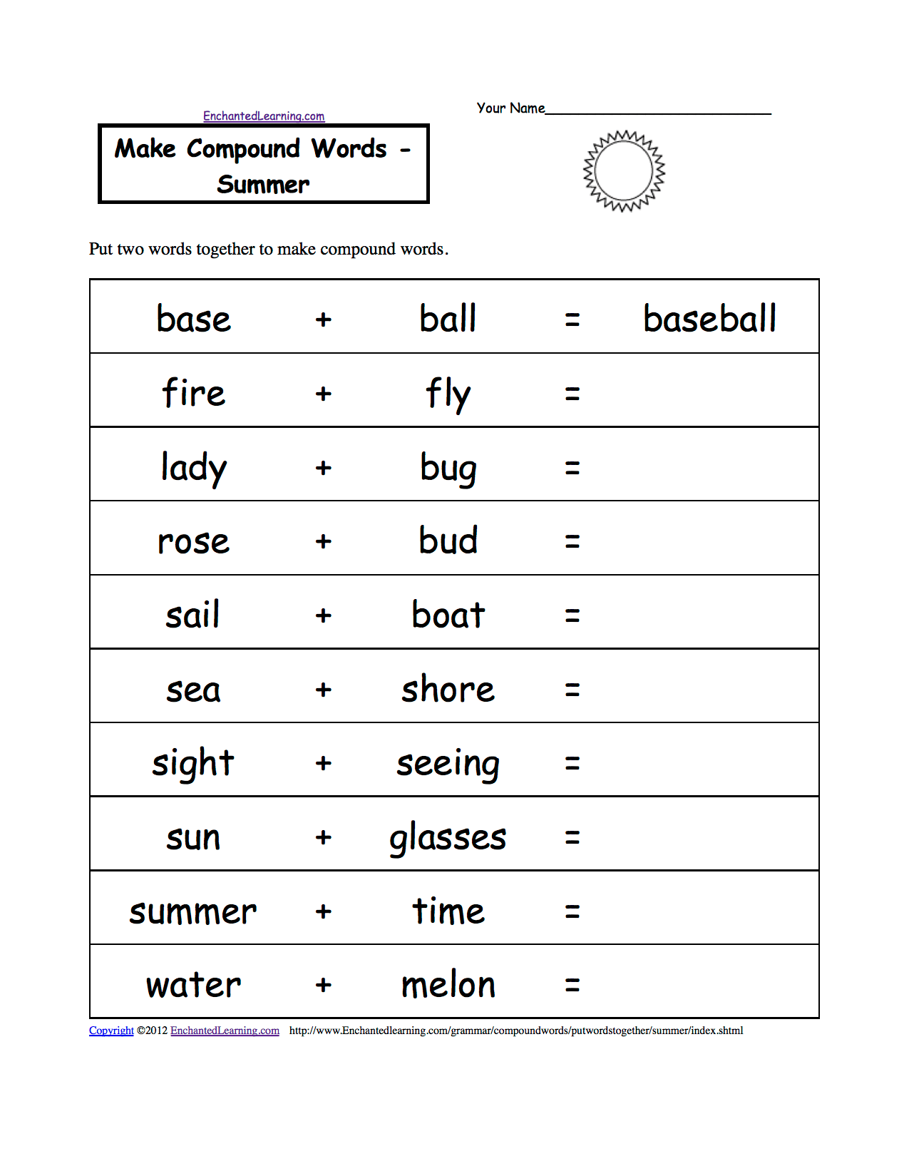 Spelling Worksheets Summer K 3 Theme Page At Enchantedlearning