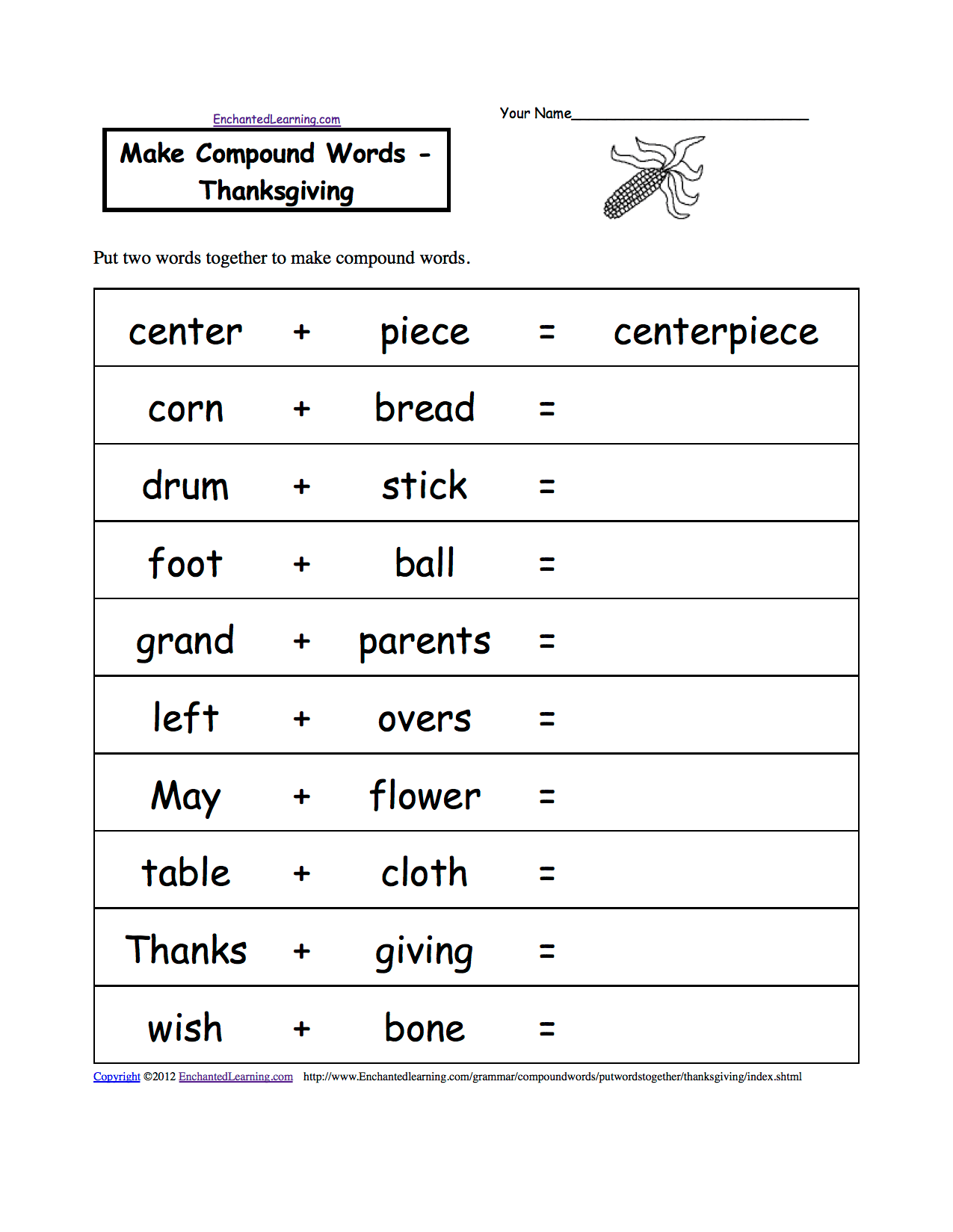 hight resolution of Thanksgiving Spelling Worksheets - EnchantedLearning.com
