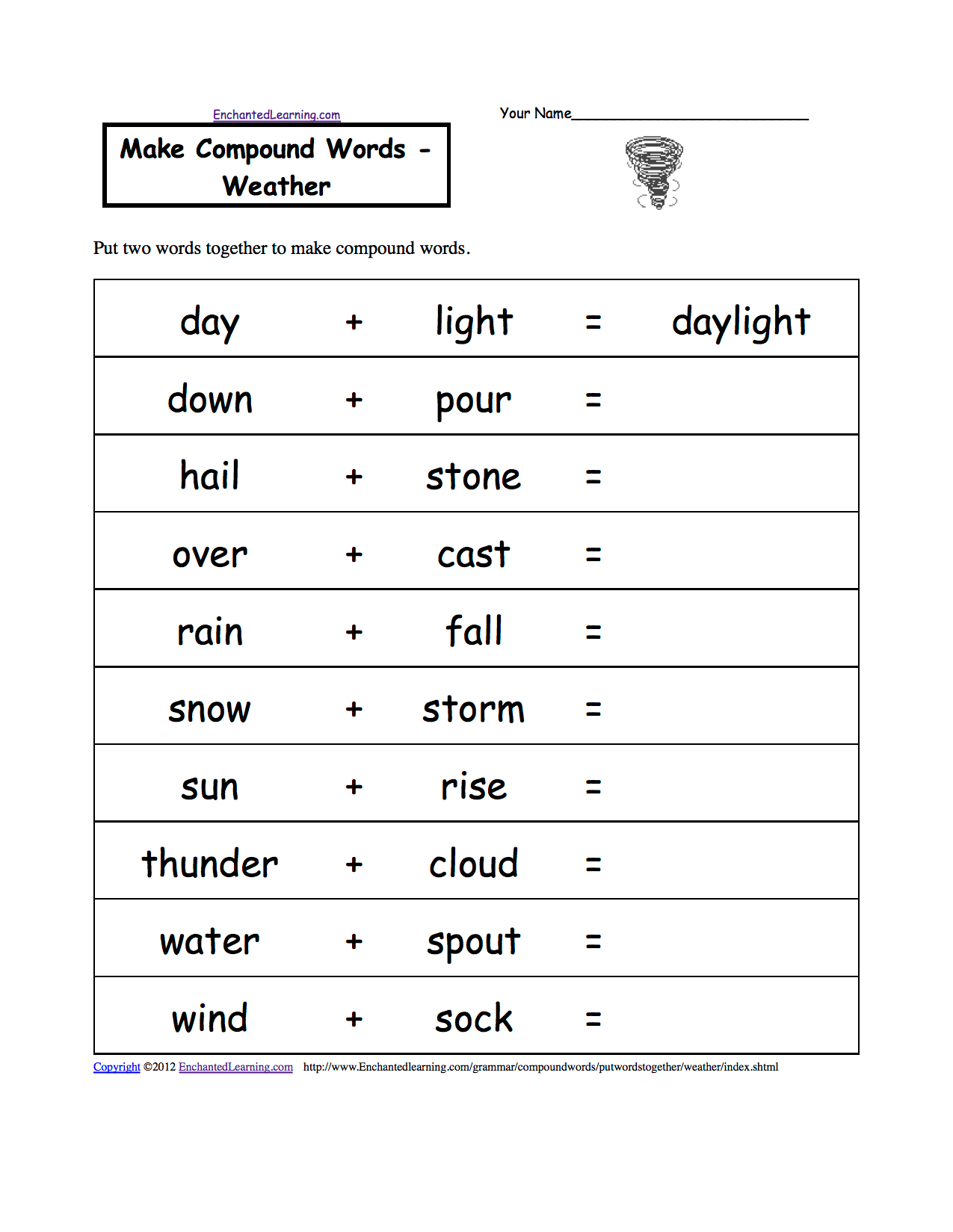 hight resolution of Weather-Related Spelling Activities and Worksheets at EnchantedLearning.com