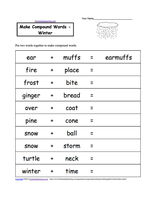 small resolution of Spelling Worksheets: Winter K-3 Theme Page at EnchantedLearning.com