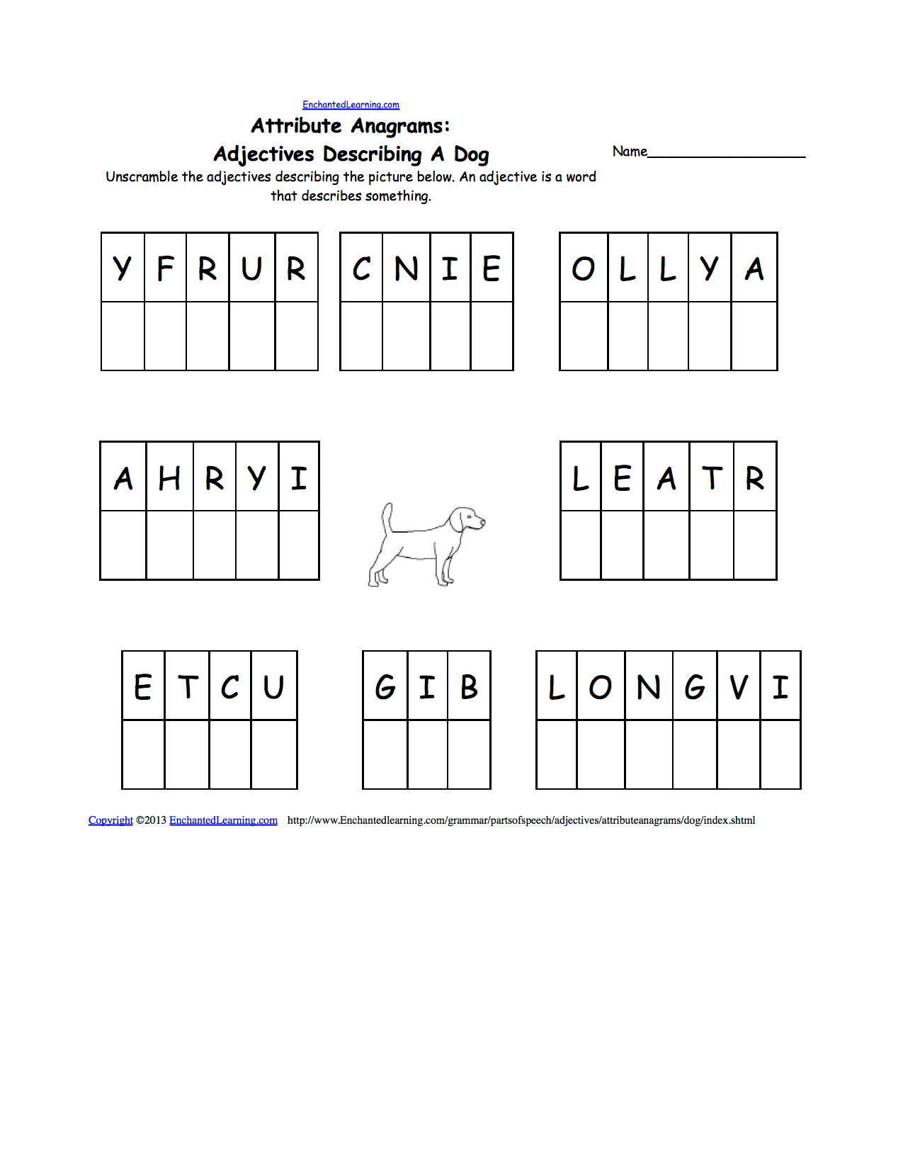 hight resolution of Unscramble Adjectives - Printable Worksheets: EnchantedLearning.com