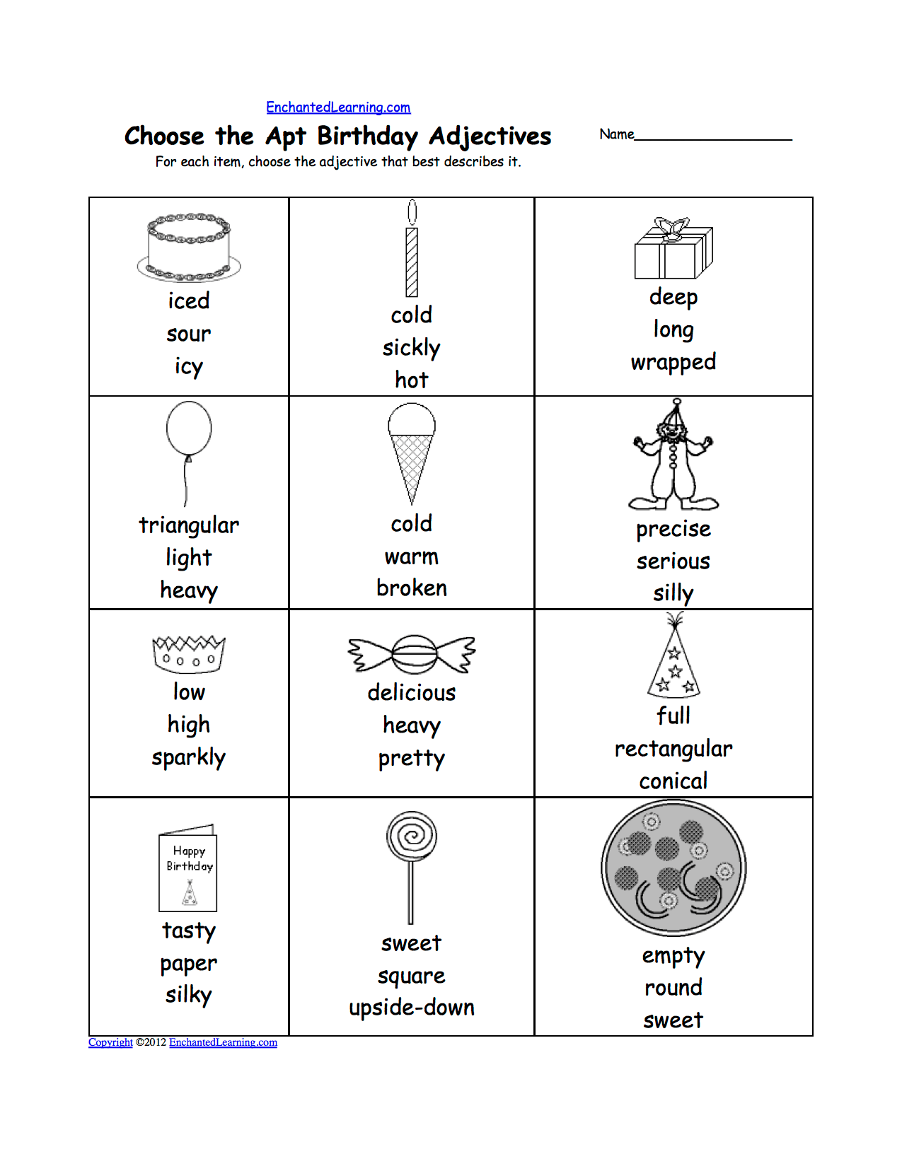 Spelling Worksheets Birthday Activities At