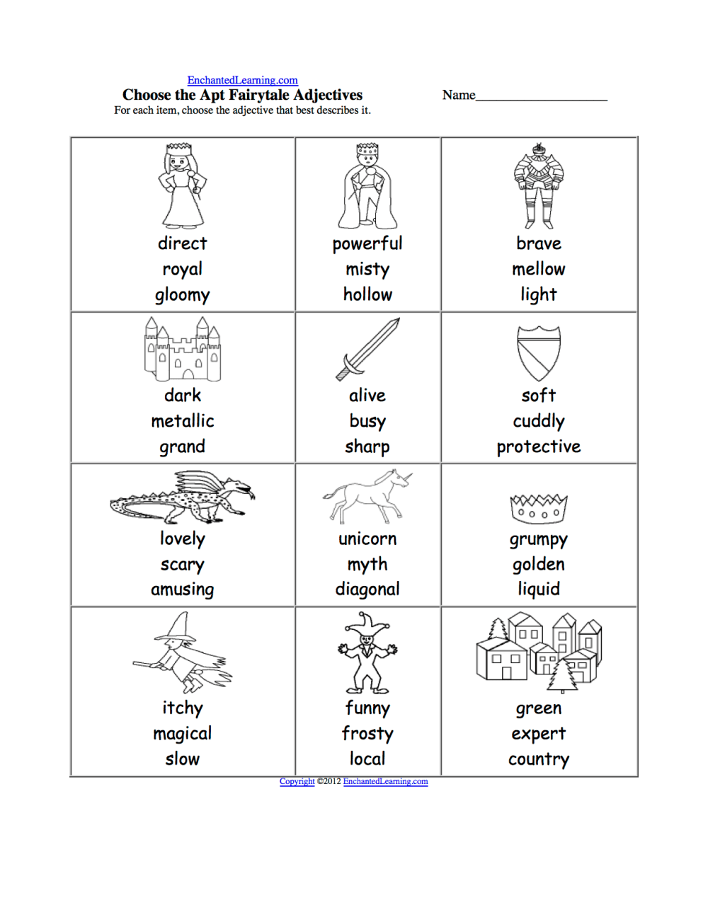 medium resolution of Pick the Apt Adjective Worksheets to Print - EnchantedLearning.com