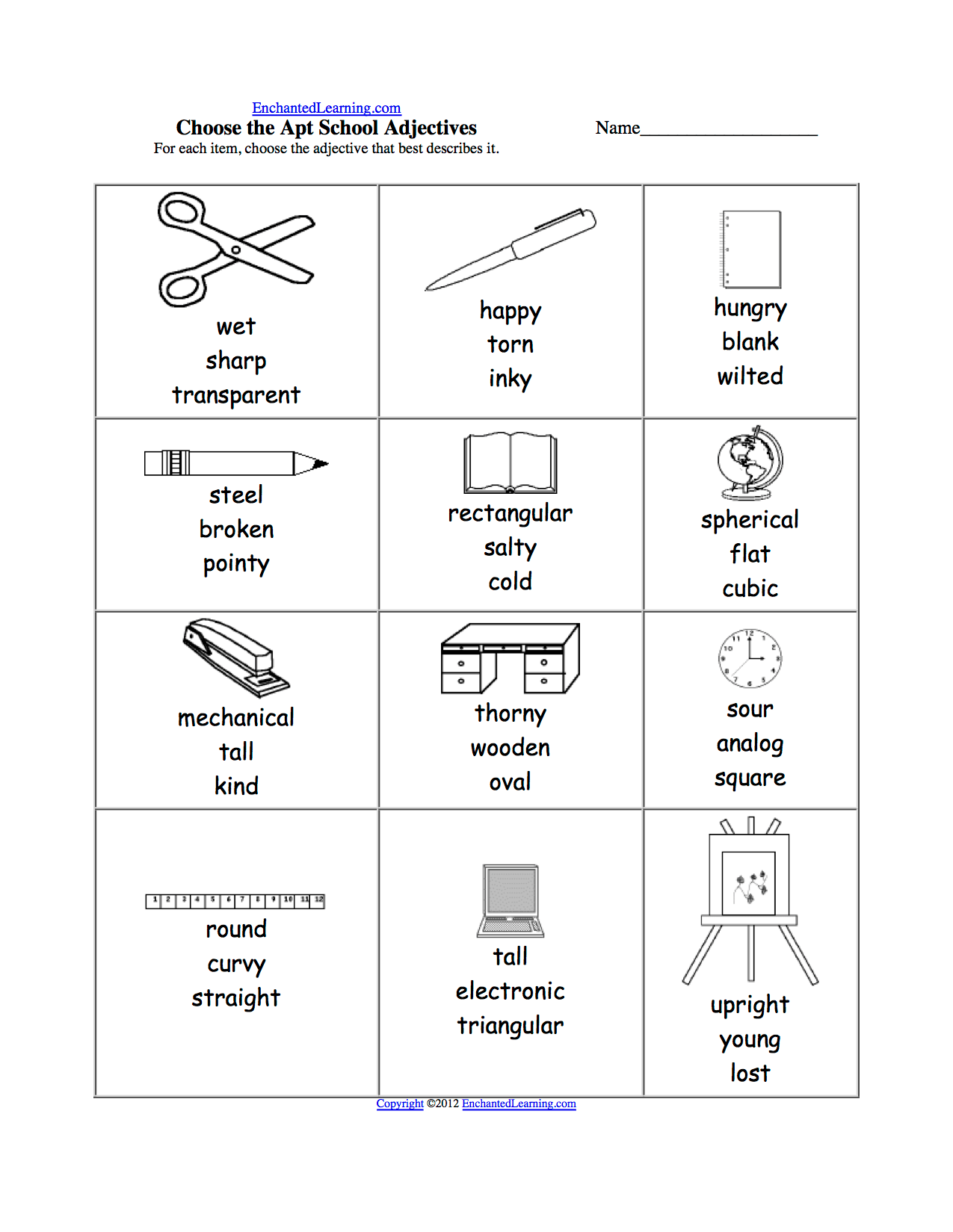School Supplies School Supplies Worksheet