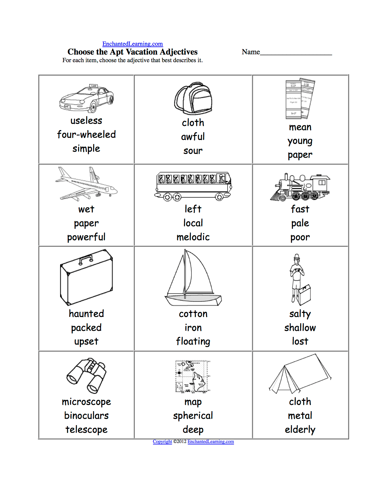 Spelling Worksheets Transportation Vehicles At