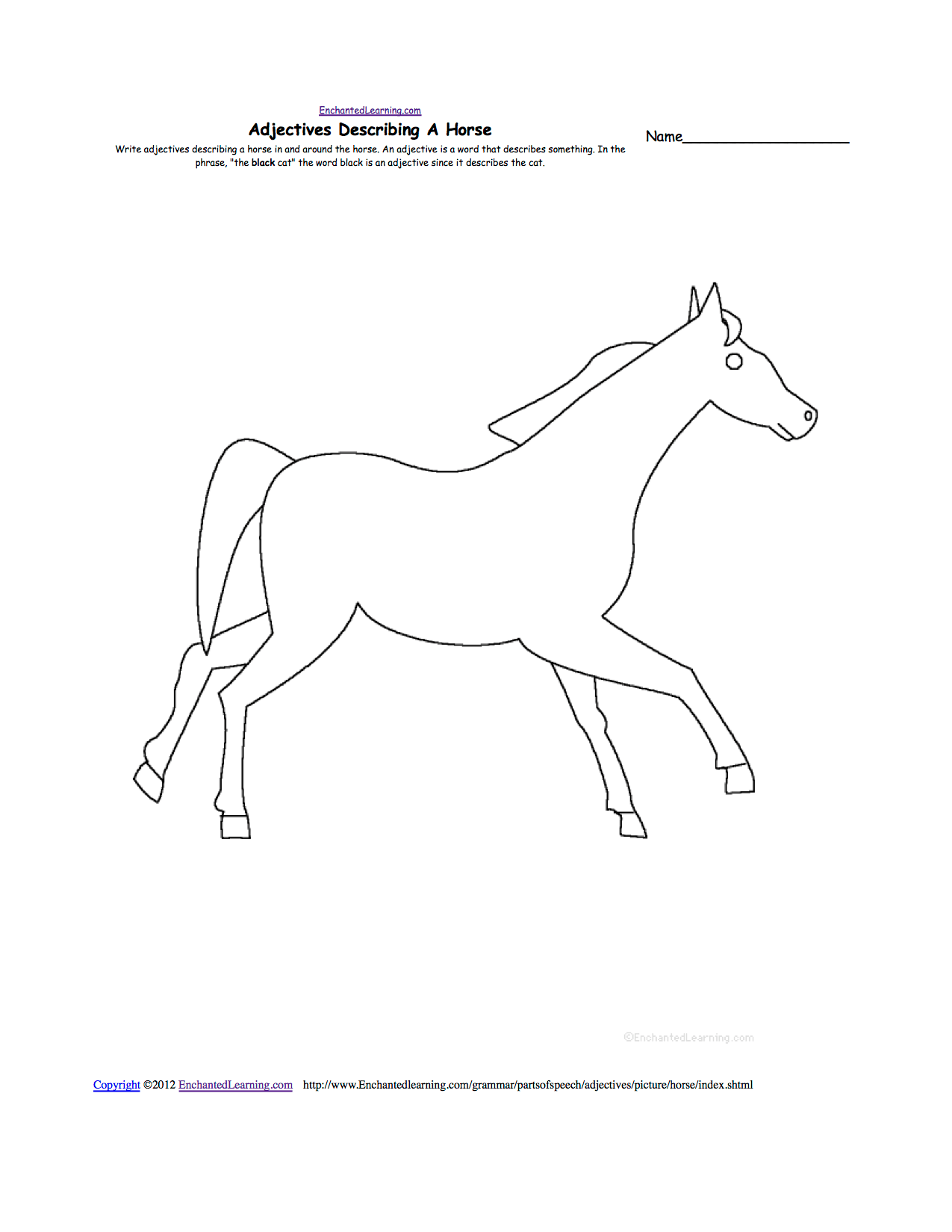 32 Parts Of The Horse Worksheet