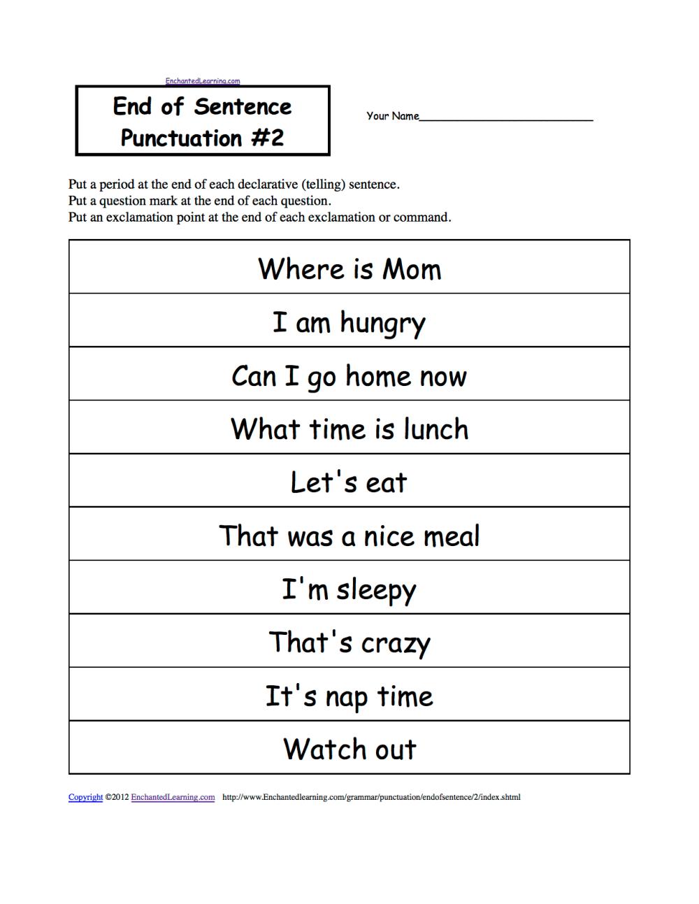 medium resolution of Punctuation Marks: EnchantedLearning.com
