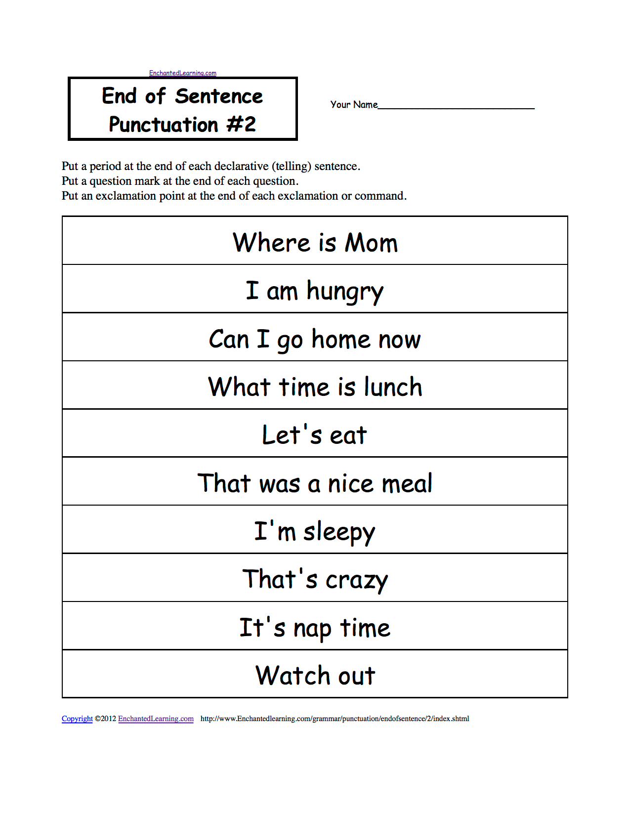 hight resolution of Punctuation Marks: EnchantedLearning.com