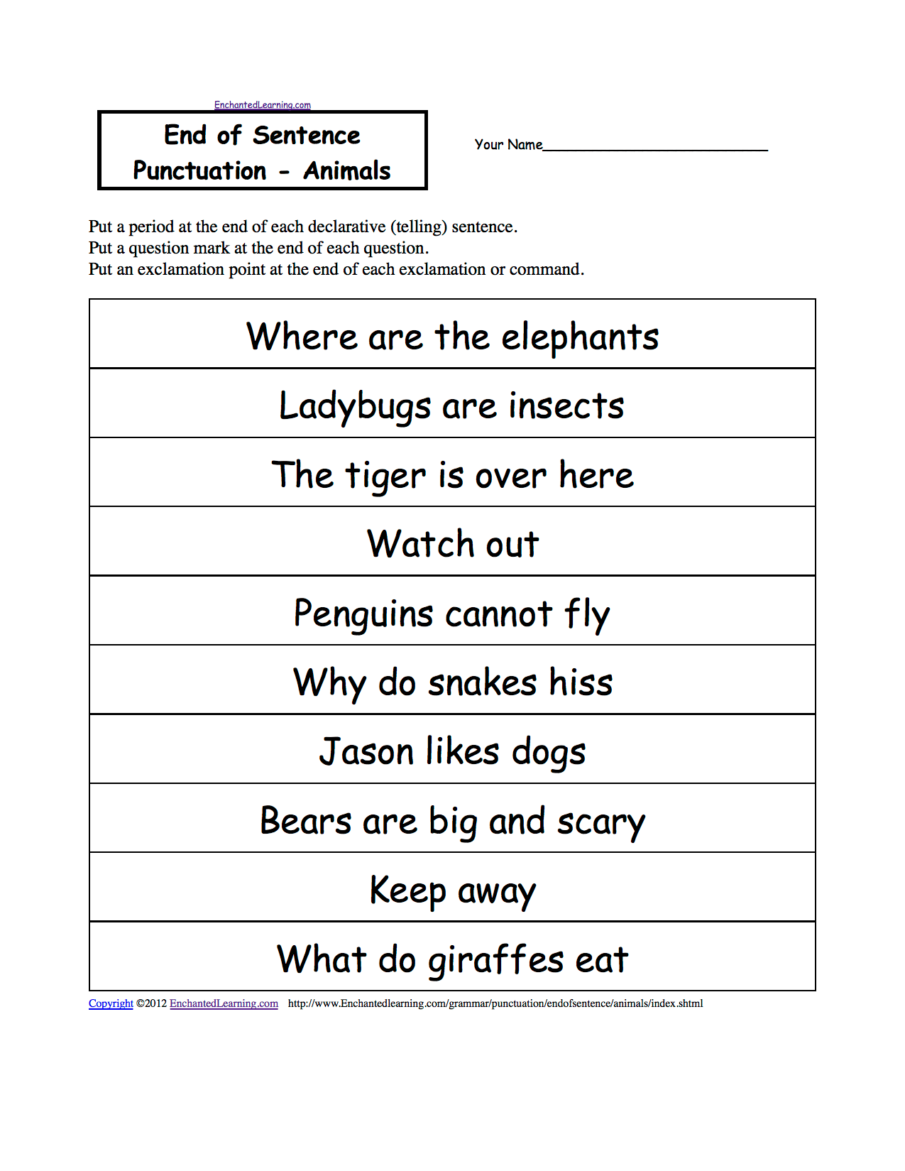 Printables Of Punctuate The Sentence Worksheet