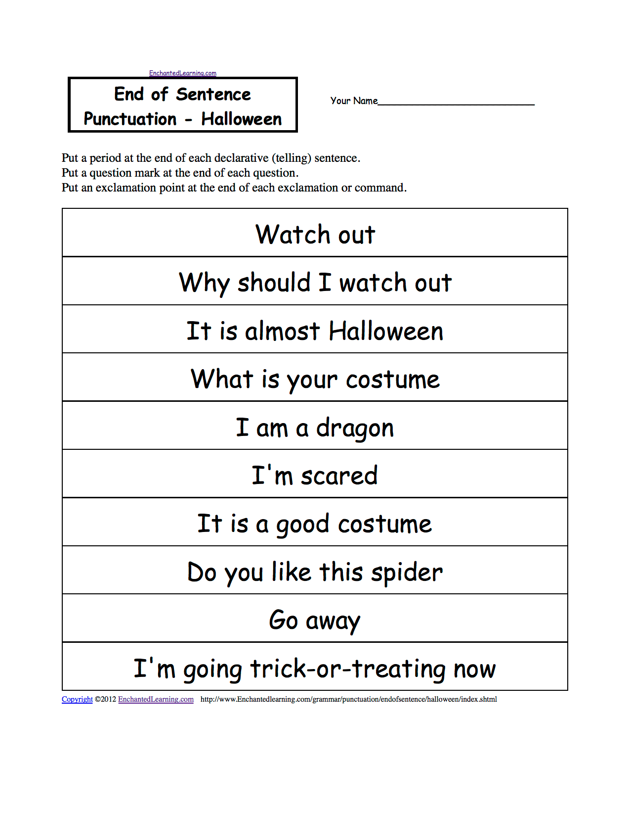 hight resolution of Halloween Activities: Writing Worksheets - EnchantedLearning.com