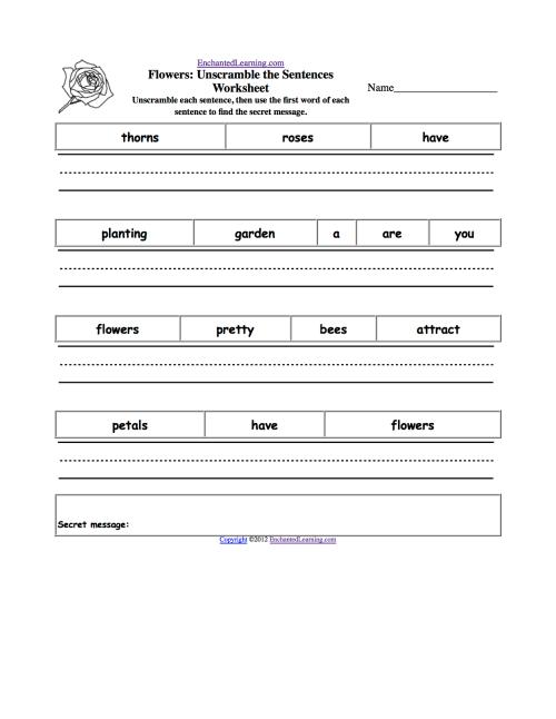 small resolution of Unscramble the Sentences Worksheets - EnchantedLearning.com