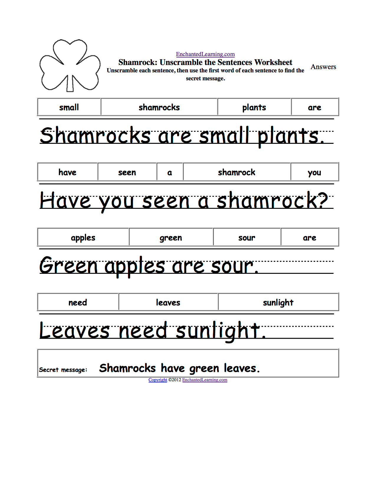 hight resolution of St. Patrick's Day Crafts for Kids - Enchanted Learning Software