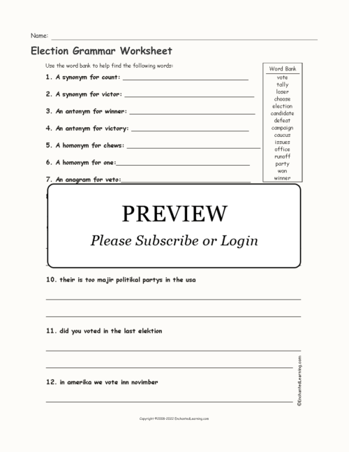 small resolution of Election Grammar Worksheet - Enchanted Learning