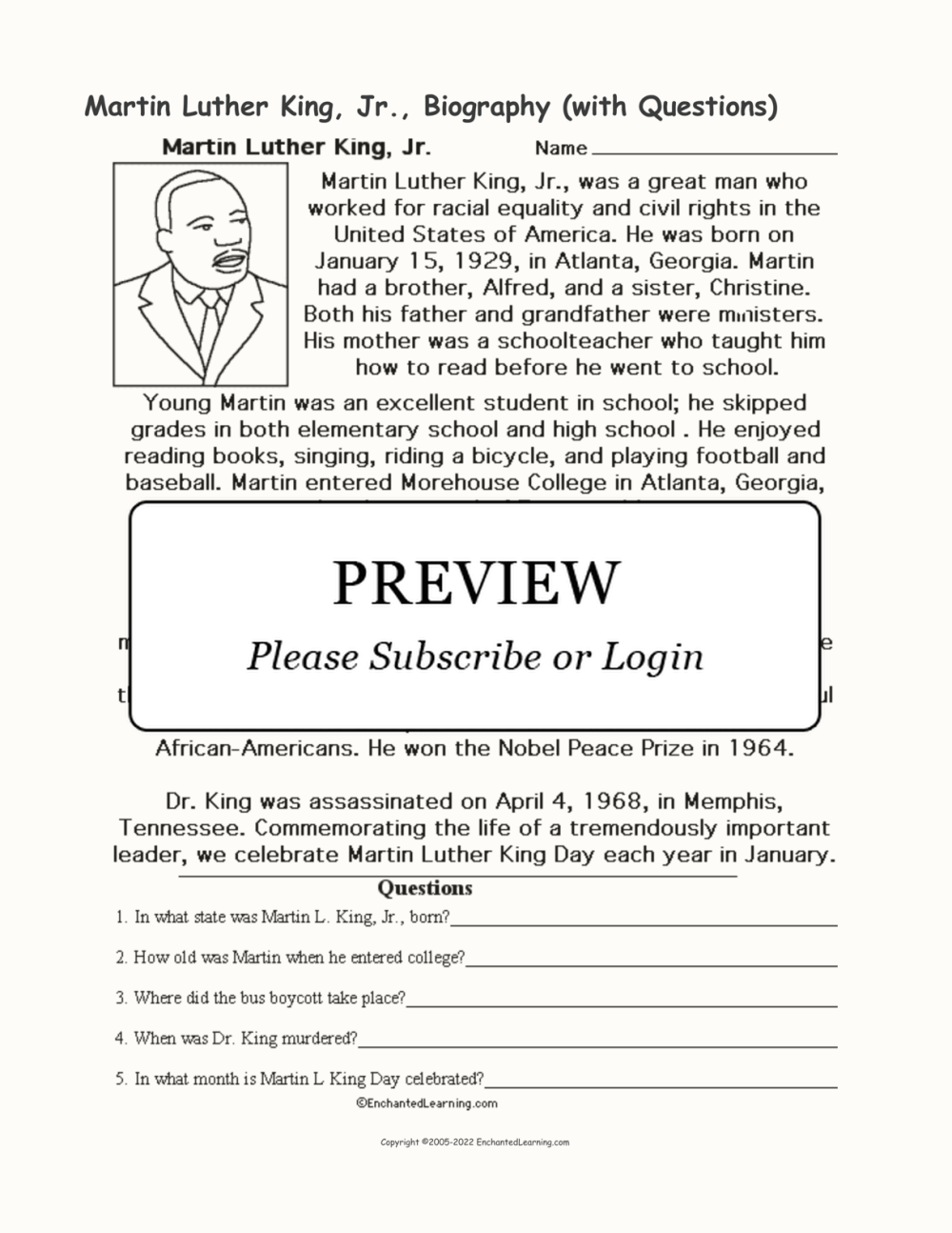 medium resolution of Biography Questions Worksheet   Printable Worksheets and Activities for  Teachers