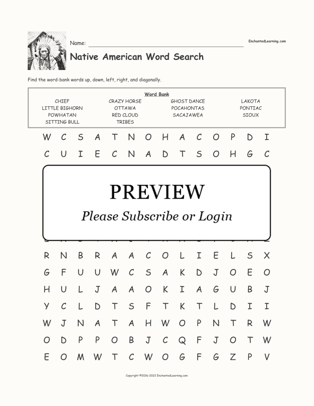 medium resolution of Native American Word Search - Enchanted Learning