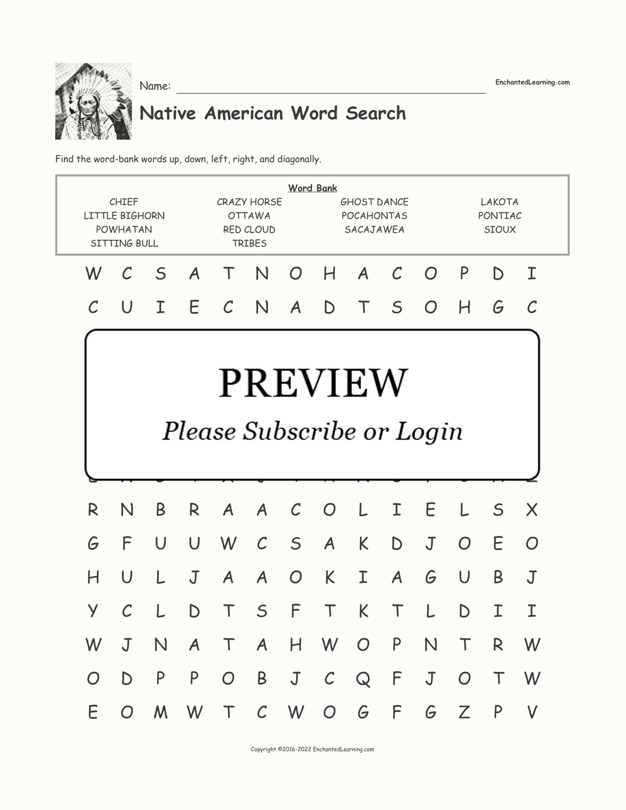 hight resolution of Native American Word Search - Enchanted Learning