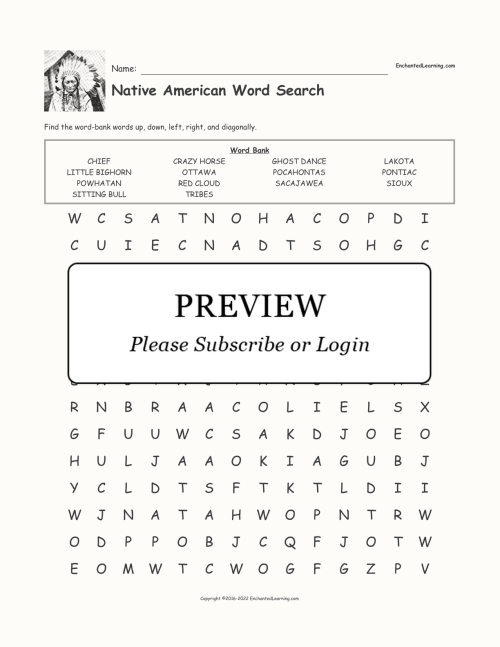 small resolution of Native American Word Search - Enchanted Learning