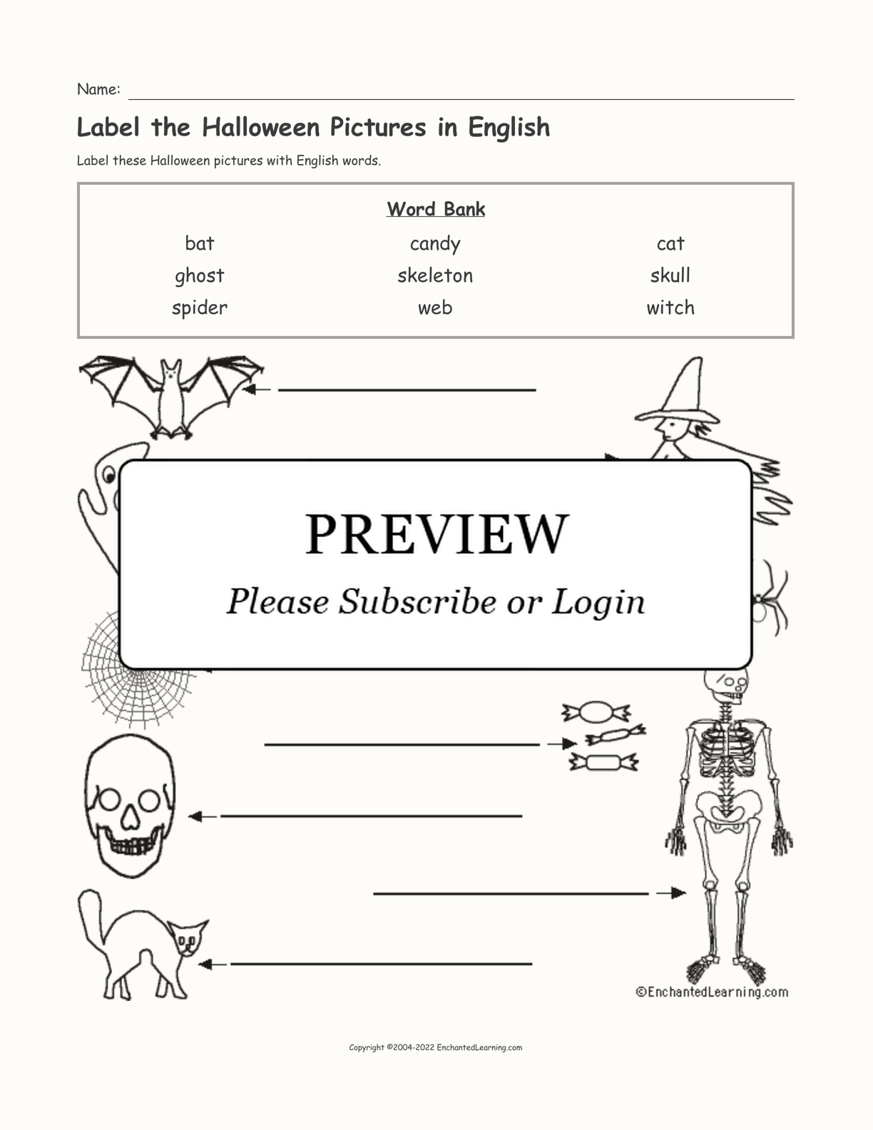 Label The Halloween Words In English