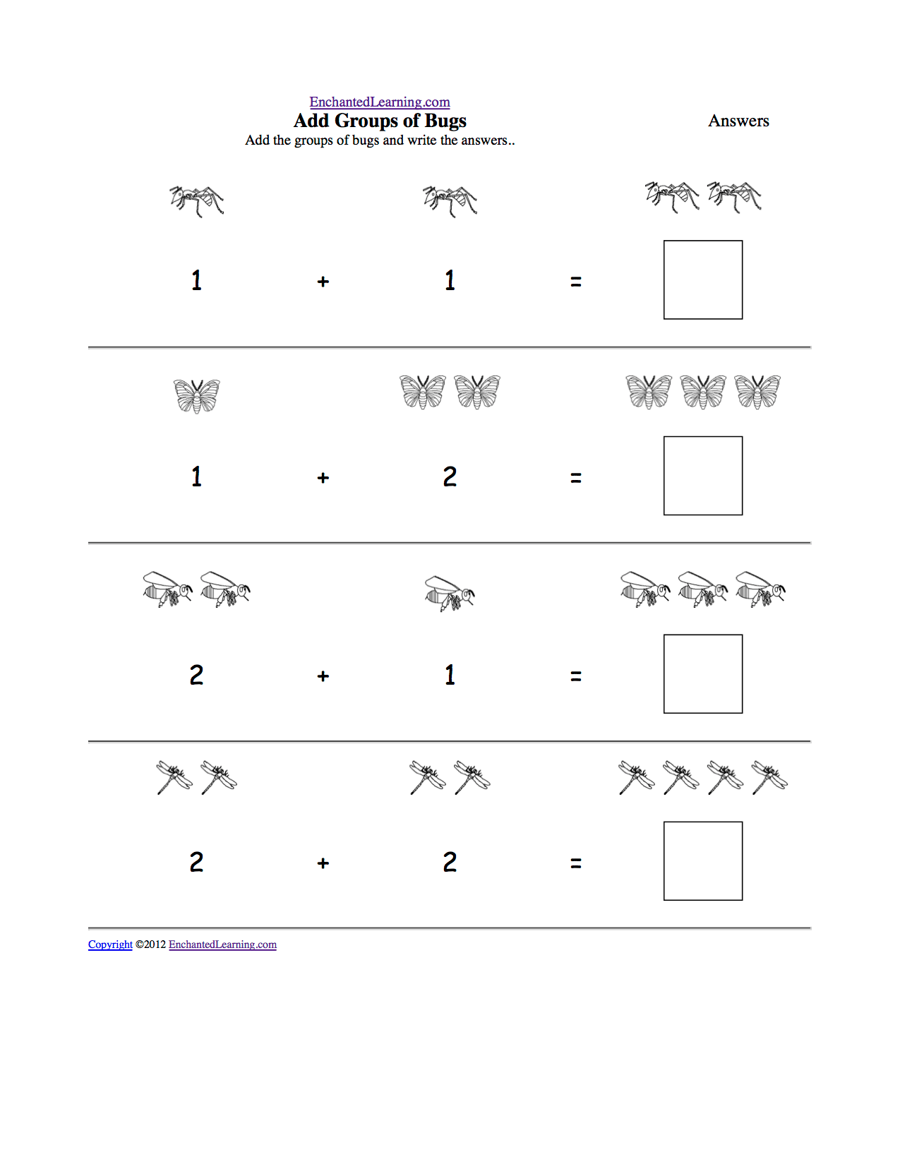 hight resolution of Visual Addition: Adding Groups of Items - Math at EnchantedLearning.com