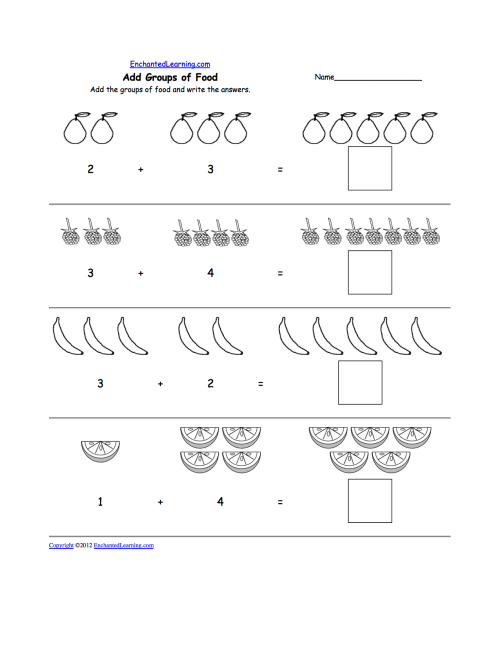 small resolution of Fruits and Vegetables: Math Worksheets - EnchantedLearning.com
