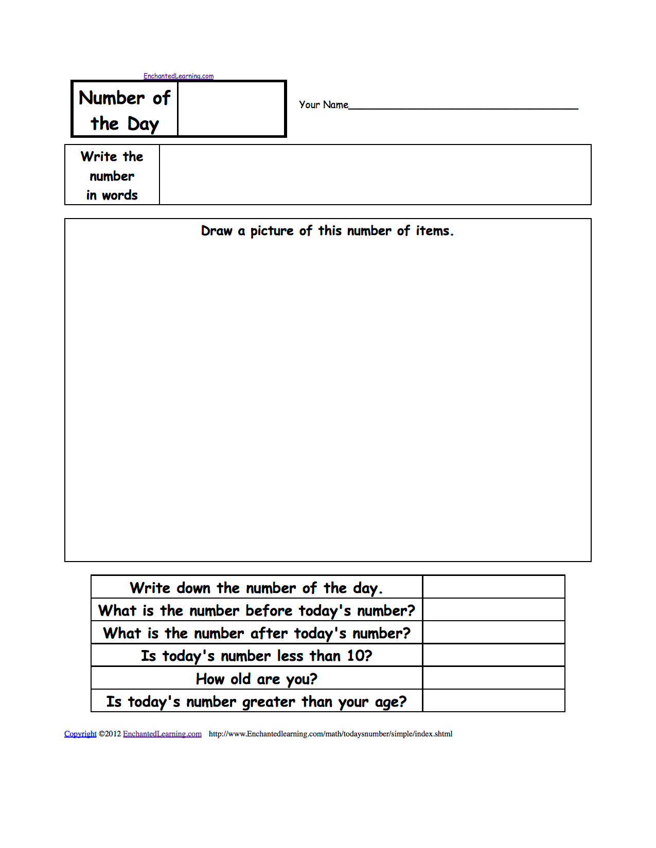 hight resolution of Number of the Day Worksheets - EnchantedLearning.com