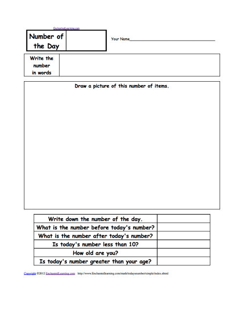 small resolution of Number of the Day Worksheets - EnchantedLearning.com