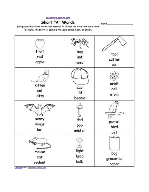 small resolution of Short A Alphabet Activities at EnchantedLearning.com