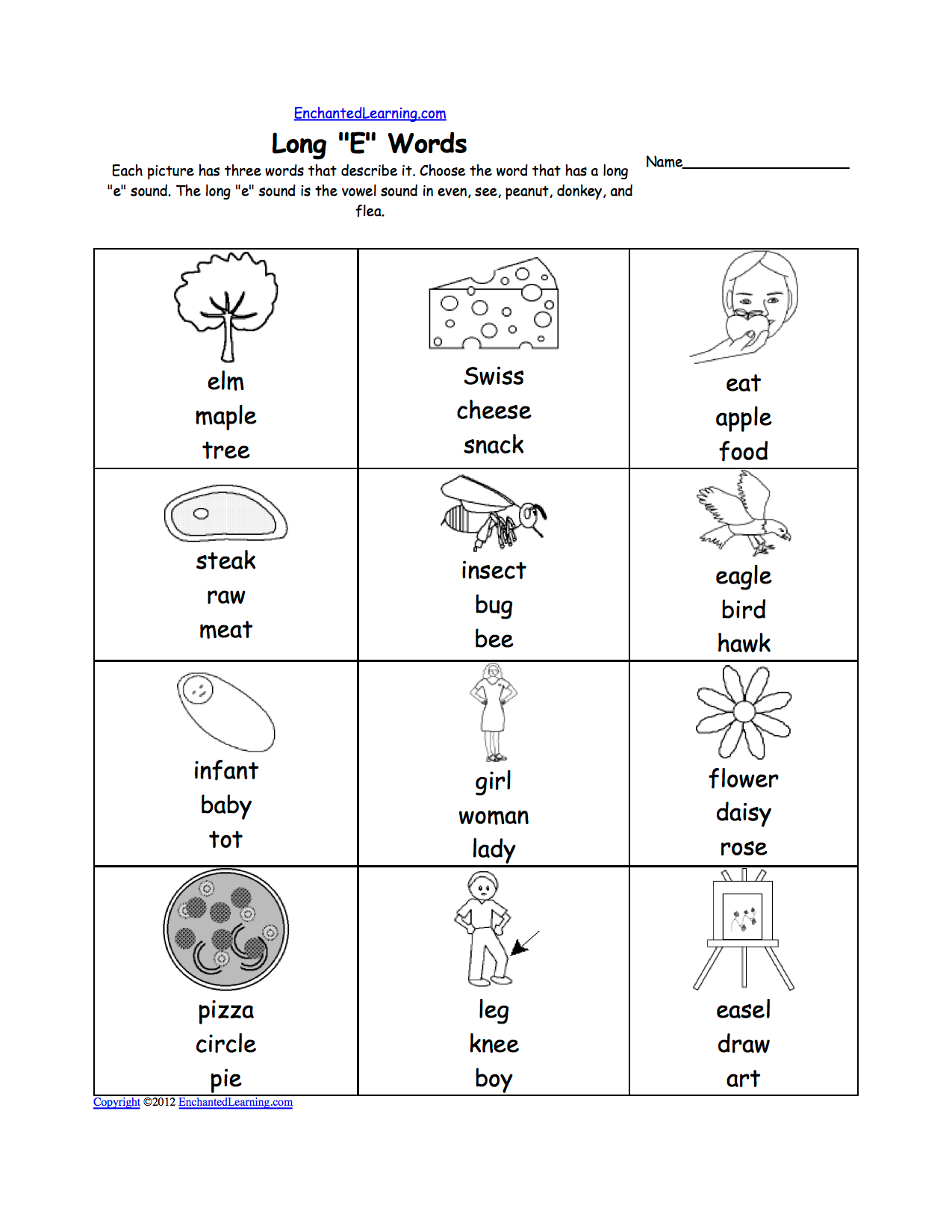 E Words Worksheet