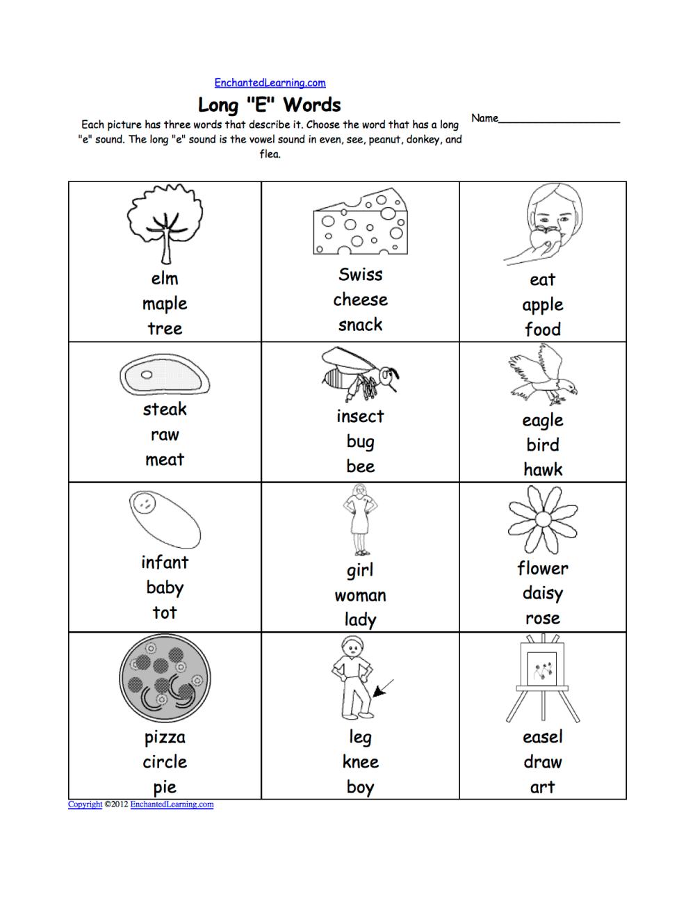 medium resolution of Long E Alphabet Activities at EnchantedLearning.com