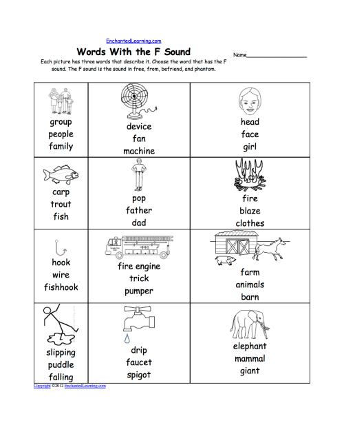 small resolution of Phonics Worksheets: Multiple Choice Worksheets to Print -  EnchantedLearning.com