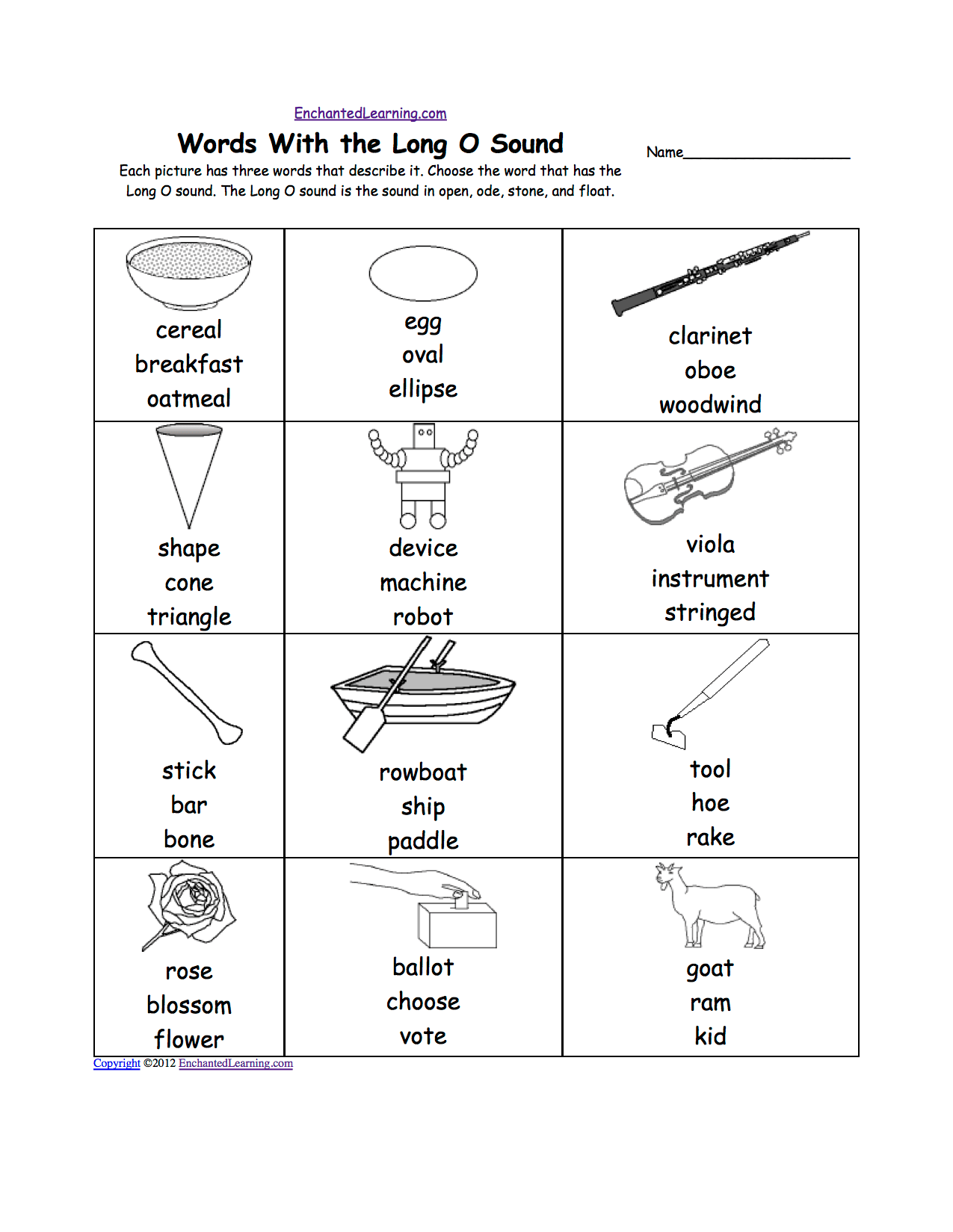 hight resolution of Phonics Worksheets: Multiple Choice Worksheets to Print -  EnchantedLearning.com