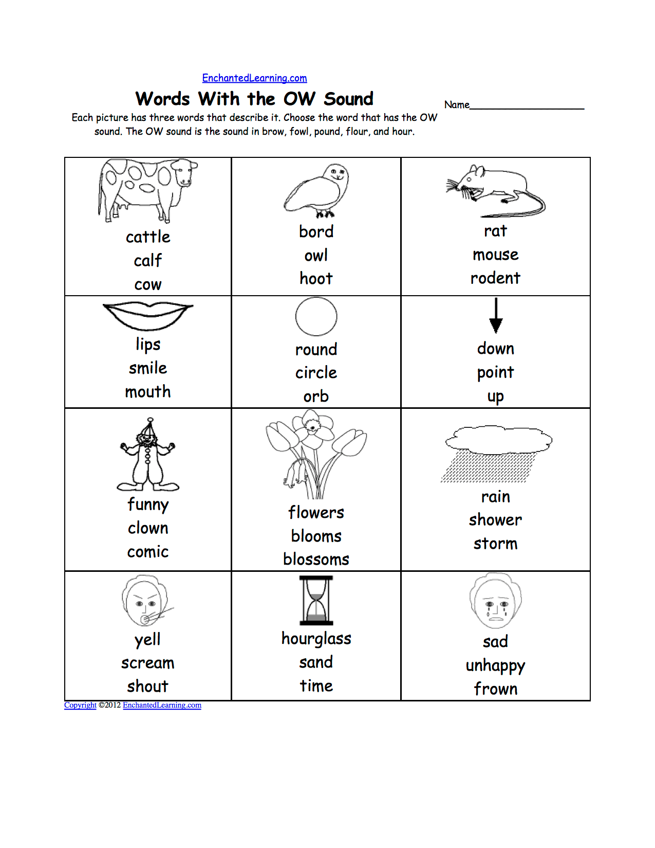 New 549 Ow Family Words Worksheet