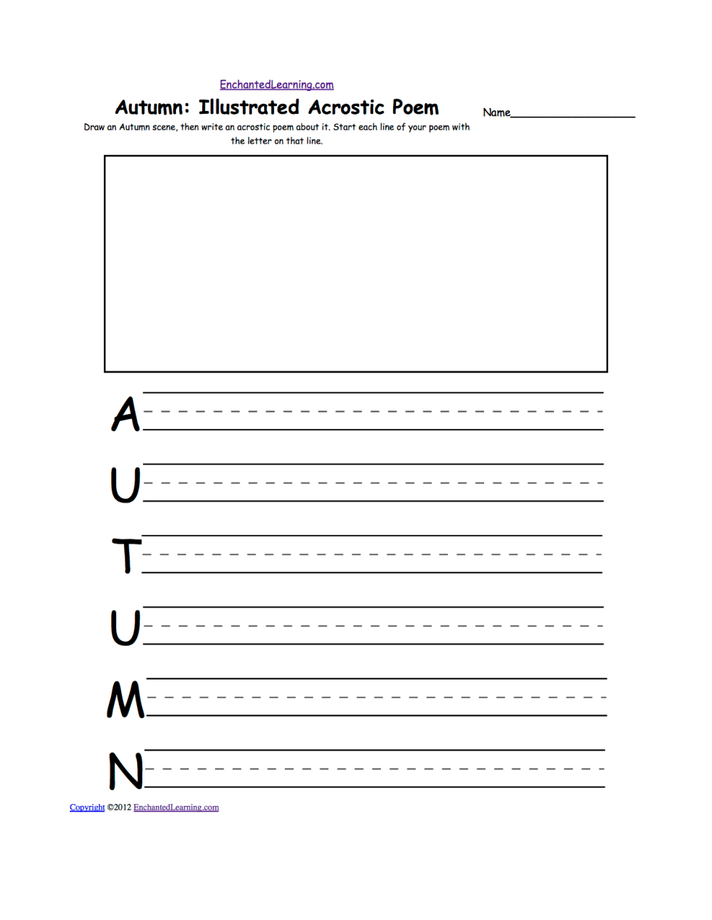 medium resolution of Acrostic Poems plus Generate Your Own Poetry Worksheets:  EnchantedLearning.com