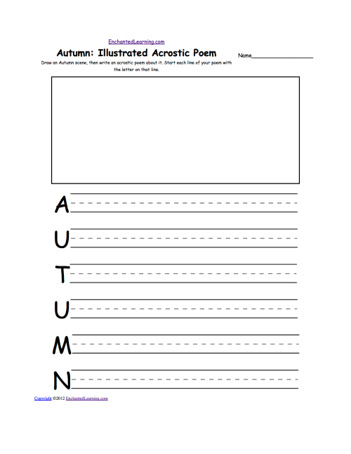 small resolution of Acrostic Poems plus Generate Your Own Poetry Worksheets:  EnchantedLearning.com