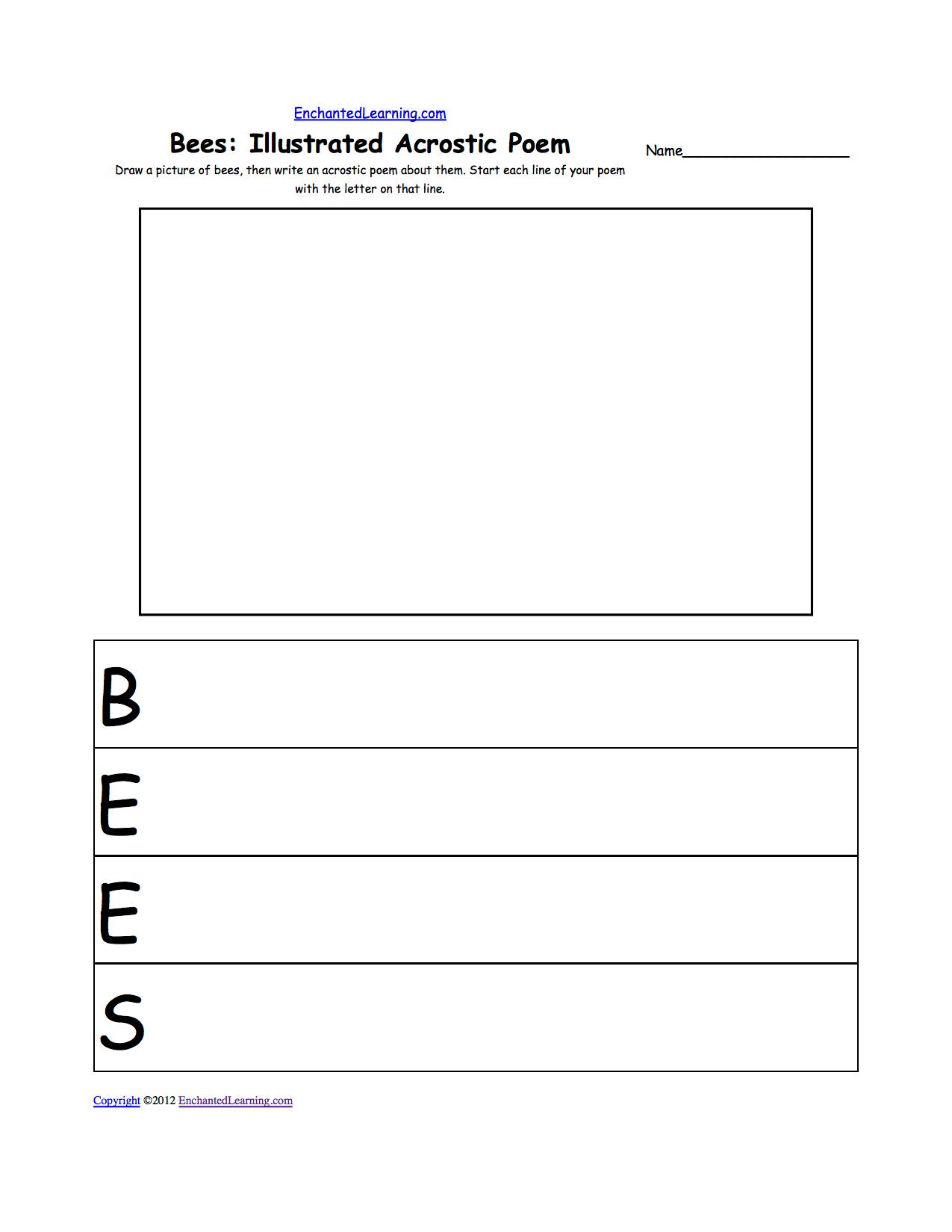 hight resolution of Illustrated Acrostic Poem Worksheets: Worksheet Printout -  EnchantedLearning.com