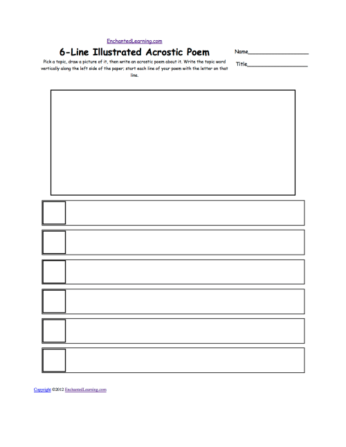small resolution of Illustrated Acrostic Poem Worksheets: Worksheet Printout -  EnchantedLearning.com