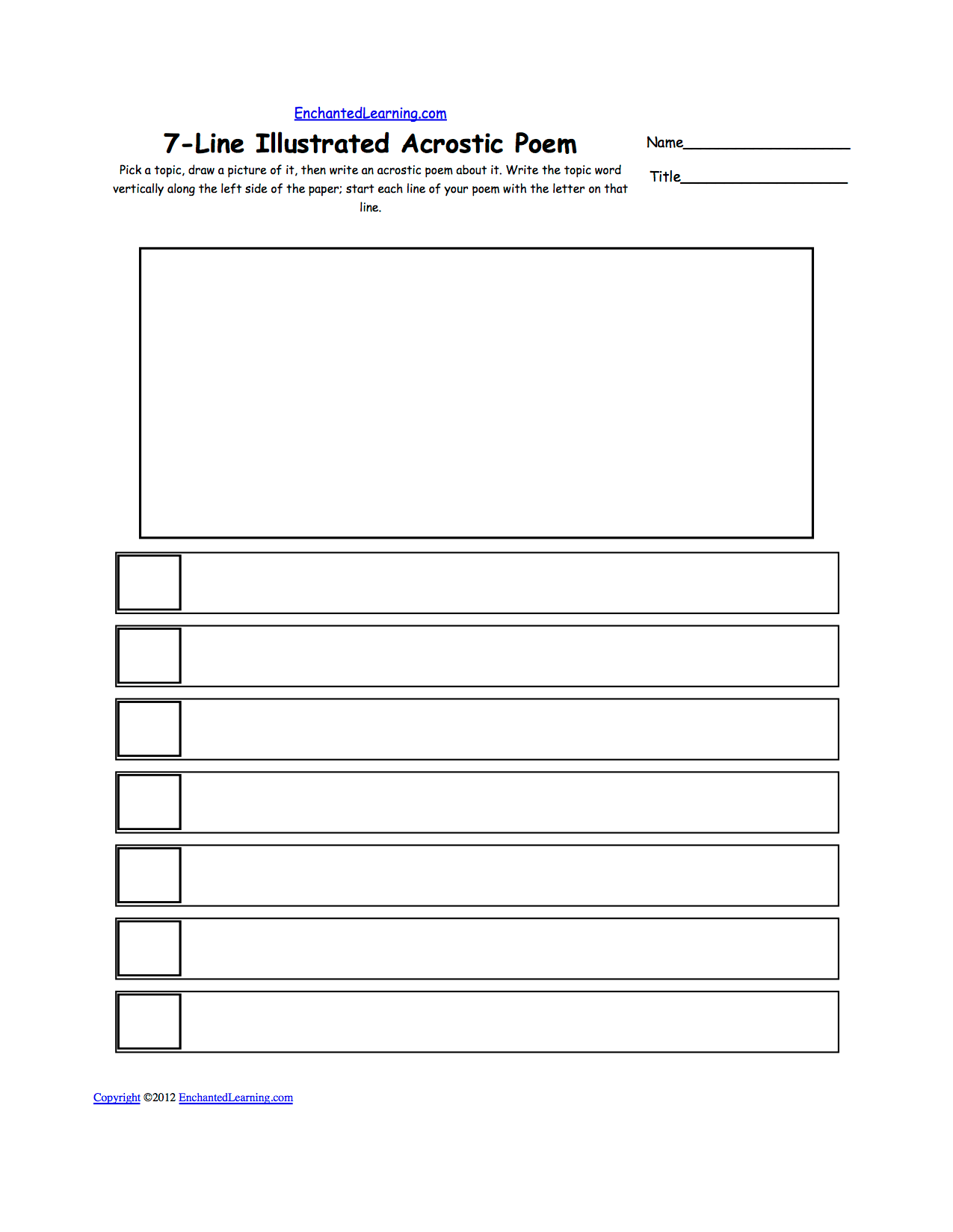 Blank Illustrated Acrostic Poem Worksheets Worksheet