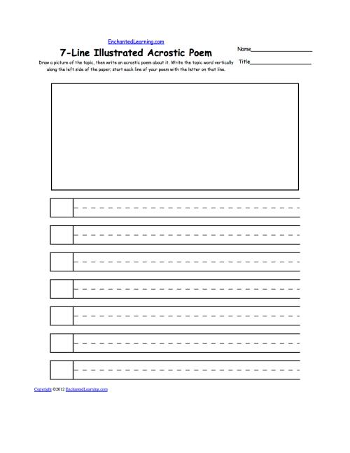small resolution of Blank Illustrated Acrostic Poem Worksheets (Handwriting Lines): Worksheet  Printout - EnchantedLearning.com