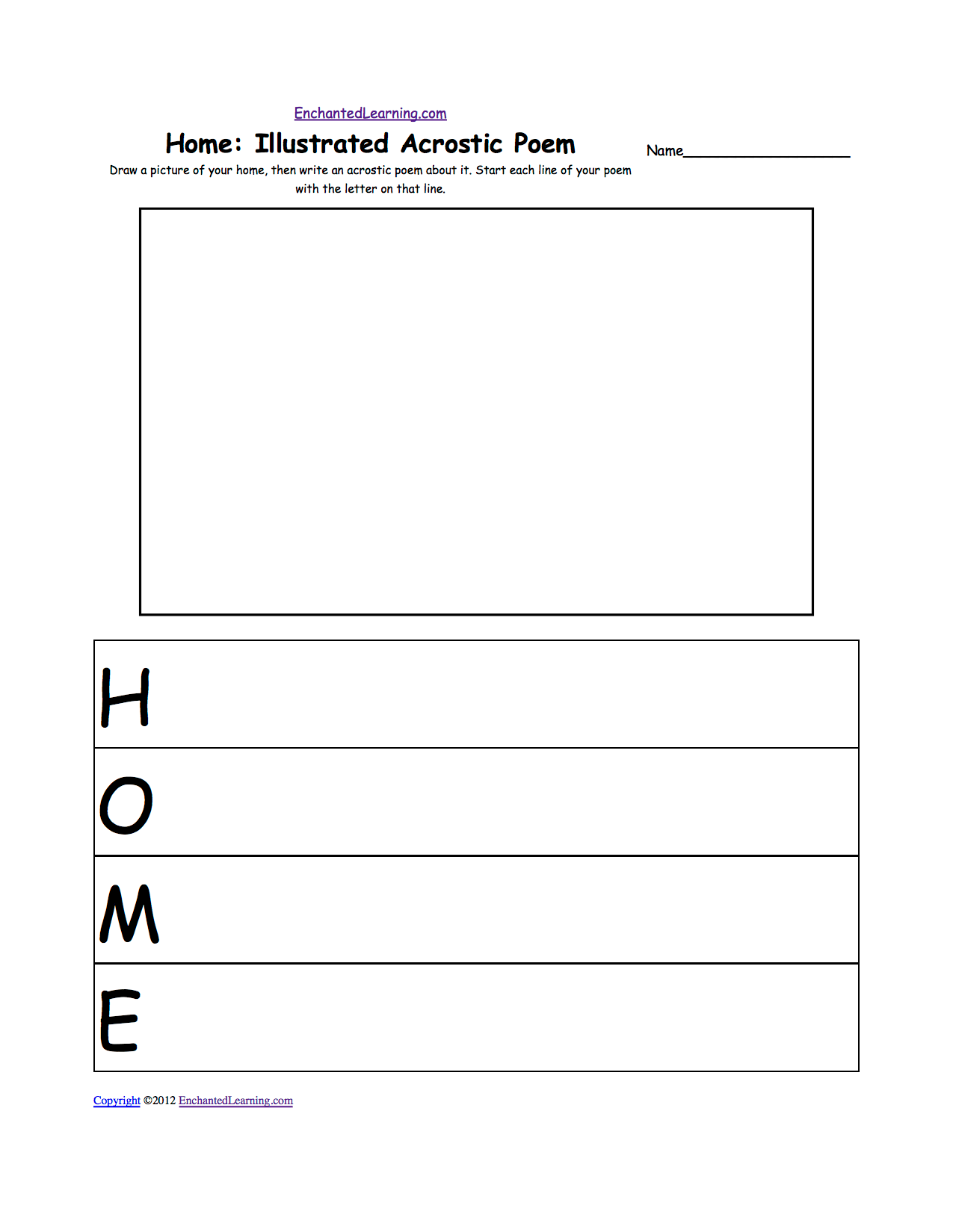 Home Illustrated Acrostic Poem